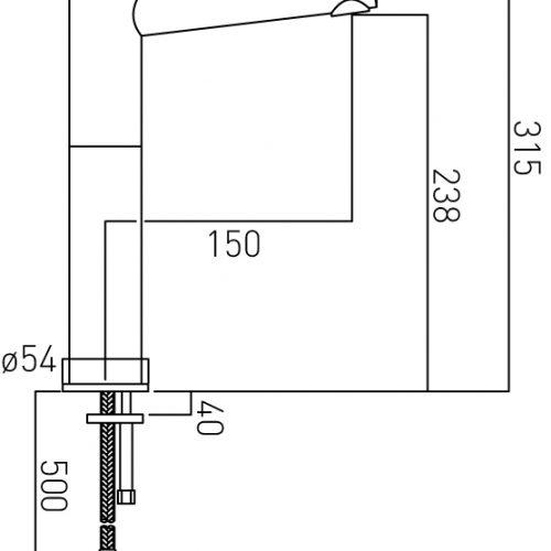 Vado Zoo extended tall mono basin mixer ZOO-100E/SB-C/P