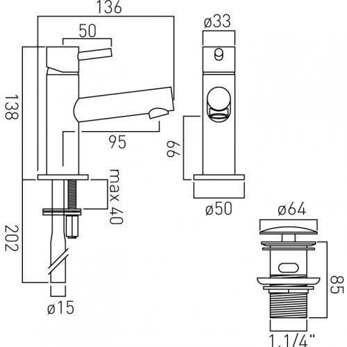 Vado Zoo mini mono basin mixer tap with waste ZOO-100M/CC-C/P