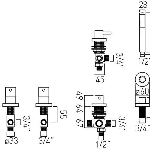 Vado Zoo 4 Hole bath shower mixer tap set ZOO-135/NS-3/4-C/P