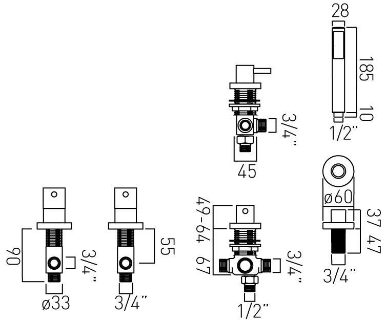 Vado Zoo 5 hole bath shower mixer deck ZOO-135-3/4-C/P