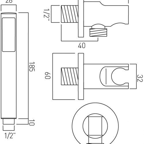 Vado zoo single function mini shower kit with ZOO-SFMKWO-C/P