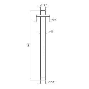 Zucchetti Ceiling Mtd Shower Arm 300mm