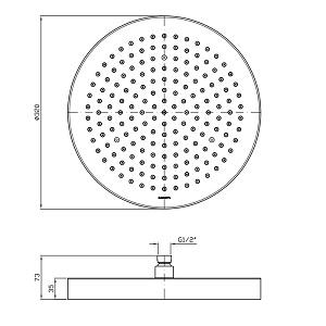 Zucchetti Shower Plus 320mm Shower Head Z94142