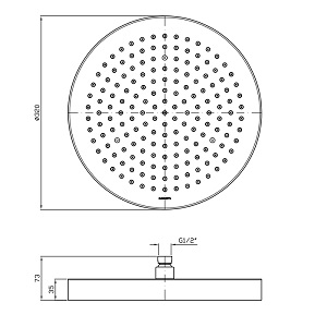 Zucchetti Shower Plus 500mm Ceiling Shower Head Z94198