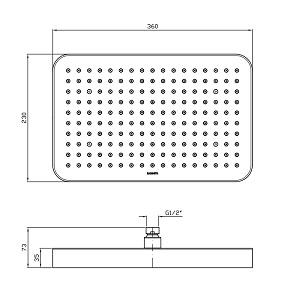 Zucchetti 360 x 230mm Rectangle Shower head Z94145