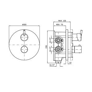 Zucchetti Simply Beautiful 4H Thermo Valve ZSB5098