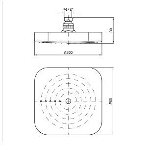 Zucchetti Abs Square Shower Head 200mm Z94183.C3