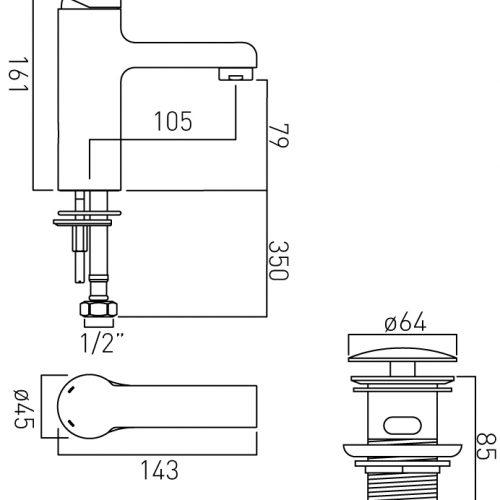 Vado Ion mono basin mixer with waste ION-100/CC-C/P