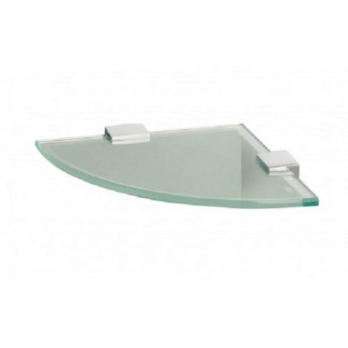 Miller Classic Frosted Corner Shelf Inc Chrome Brackets-0