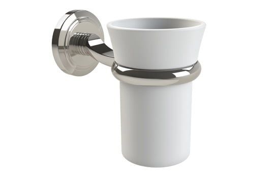 Miller Oslo White Tumbler And Polished Nickel Holder