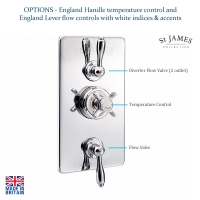 St James Concealed Thermo Shower Valve 2 Function Diverter And Flow Valve SJ7760CPELEH