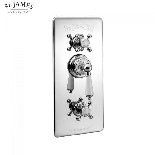 St James Concealed Thermostatic Shower Valve With Integral Flow Valves SJ7750CPELEHBK