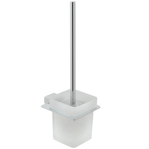 Vado Phase Wall Mounted Toilet Brush And Frosted Glass Holder