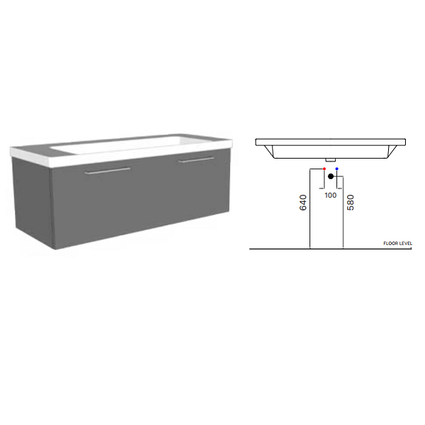 GSI Norm 120 1 Tap Hole Washbasin With Overflow GS8623-16829