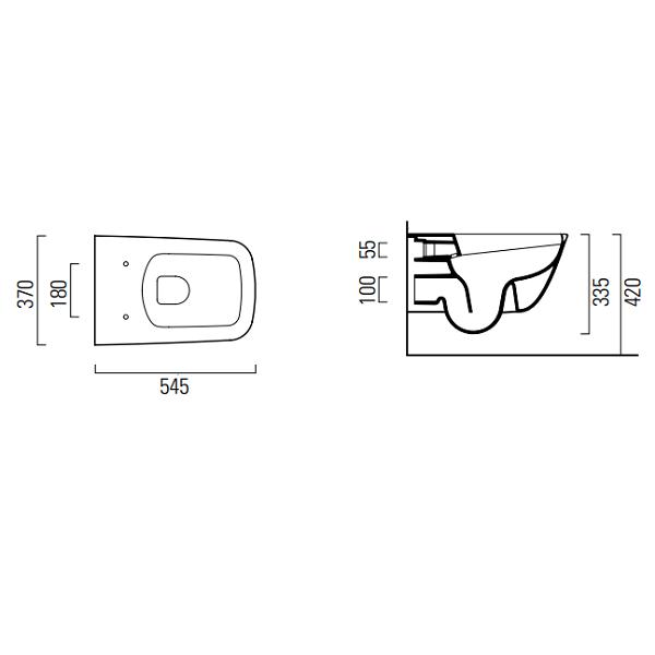 GSI Sand 55/f Rimless Wall Hung Swirl Flush Toilet Pan And Seat-16601