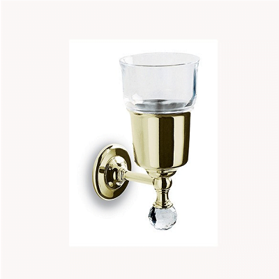Bathroom Origins Oriental Crystal Gold Tumbler Holder-0