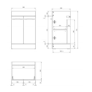 Saneux Austen 50cm Floor Standing White Gloss 2 Door Unit-13919