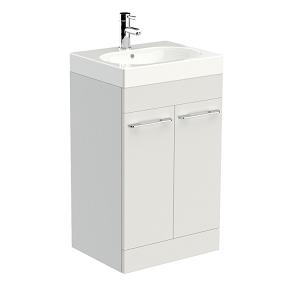 Saneux Austen 50cm Floor Standing White Gloss 2 Door Unit-0