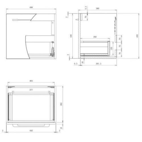 Saneux Austen 50cm White Gloss Soft Close Single Drawer Unit-13989