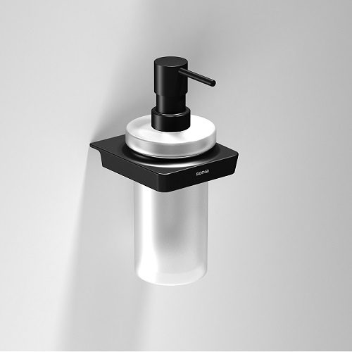 Sonia S6 Black Wall Mounted Frosted Soap Dispenser-0