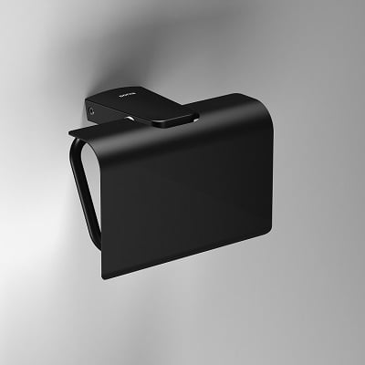 Sonia S6 Black Wall Mounted Toilet Roll Holder With Flap-0