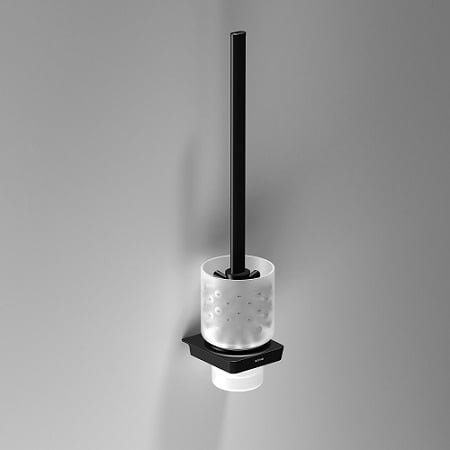 Sonia S6 Black Wall Mounted WC Brush Set Frosted Glass-0