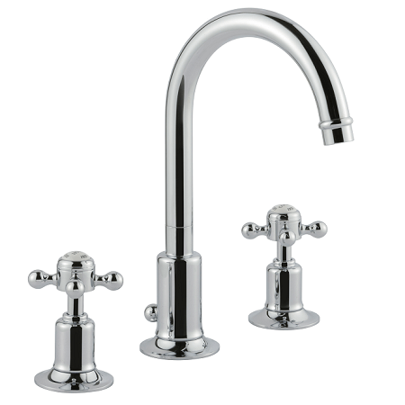 Just Taps Plus Grosvenor Cross Chrome 3 Hole Basin Mixer-0