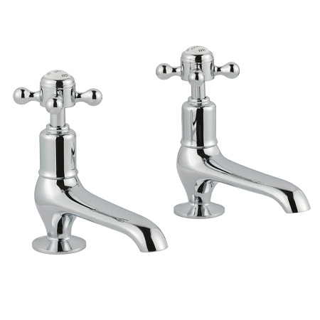 Just Taps Plus Grosvenor Cross Chrome Long Nose Basin Taps-0
