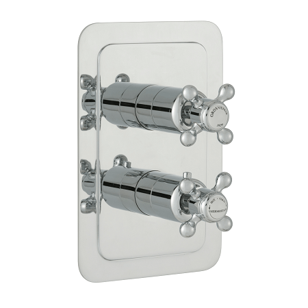 Just Taps Plus Grosvenor Cross Thermo 2 Outlet 3 Handle Valve-0