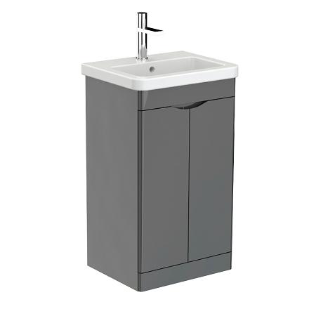 Saneux Indigo 50cm 2 Door Floor Standing Grey Gloss Unit-0