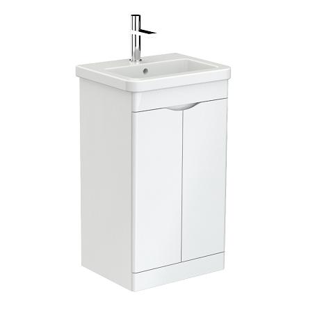 Saneux Indigo 50cm 2 Door Floor Standing White Gloss Unit-0