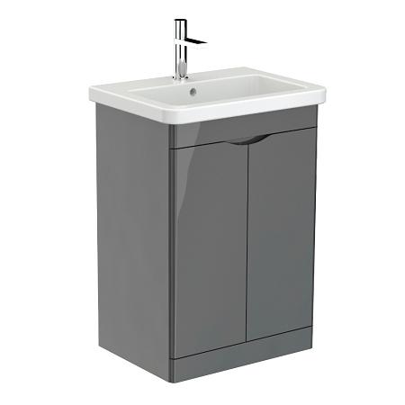 Saneux Indigo 60cm Floor Standing 2 Door Grey Gloss Unit-0