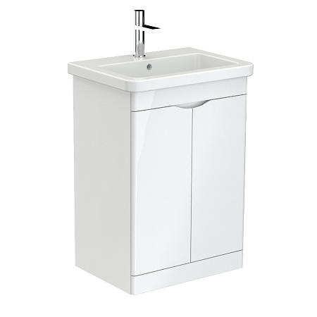 Saneux Indigo 60cm Floor Standing 2 Door White Gloss Unit-0