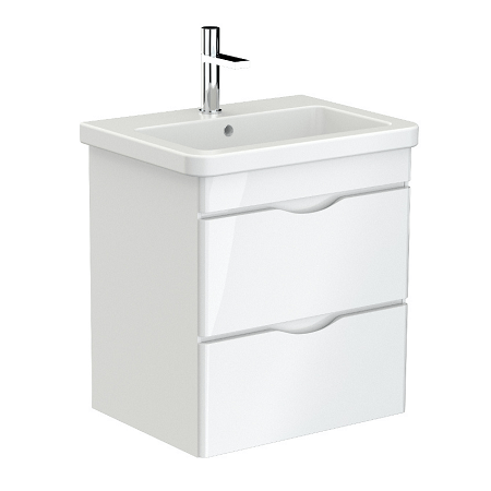 Saneux Indigo 60cm Wall Mounted 2 Drawer White Gloss Unit-0