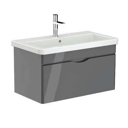 Saneux Indigo 80cm Wall Mounted Grey Gloss Unit-0