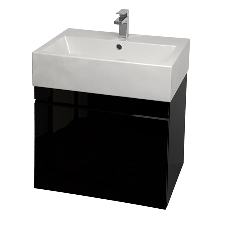 Saneux Matteo 50cm Wall Hung Black Gloss Handless Unit-0