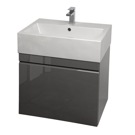 Saneux Matteo 50cm Wall Hung Grey Gloss Handless Unit-0