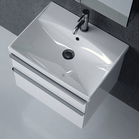 Saneux Prague 60cm 2 Drawer White Gloss Basin Unit-14556
