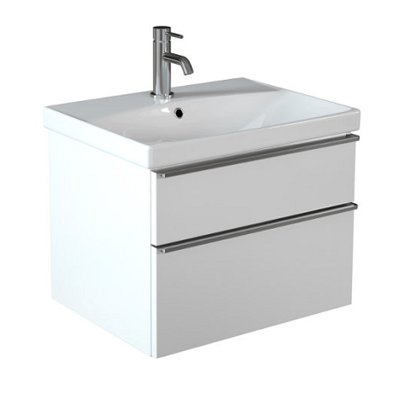 Saneux Prague 60cm 2 Drawer White Gloss Basin Unit-0