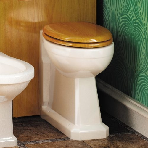Burlington Back to Wall Traditional Toilet WC with Oak Seat P14 S16-0