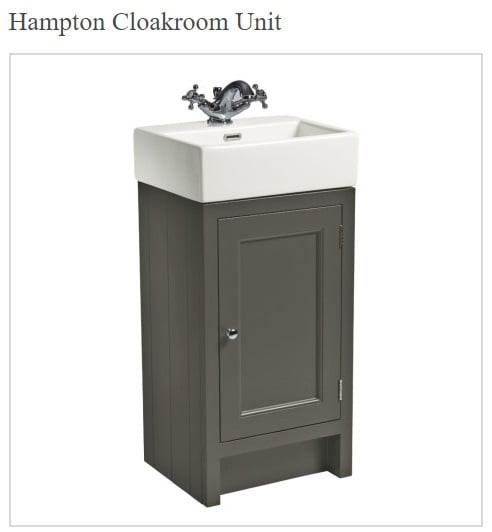 Roper Rhodes Hampton 400mm Traditional Slate Grey Swatch Cloakroom Unit and Basin-14819