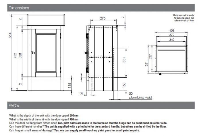 Roper Rhodes Hampton 400mm Traditional Mocha Cloakroom Unit and Basin-14812