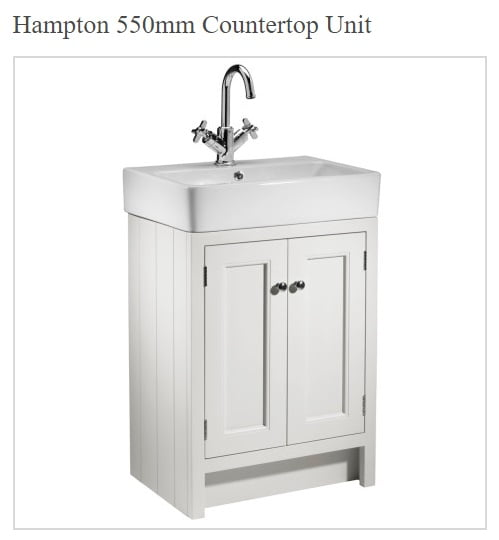 Roper Rhodes Hampton Traditional Countertop 550mm Chalk White Unit and Basin-0