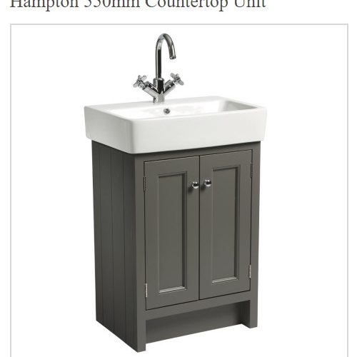 Roper Rhodes Hampton Traditional Counter Top 550mm Pewter Unit and Basin-0
