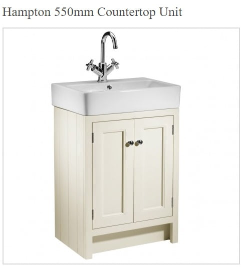 Roper Rhodes Hampton Traditional Countertop 550mm Vanilla Unit and Basin-0