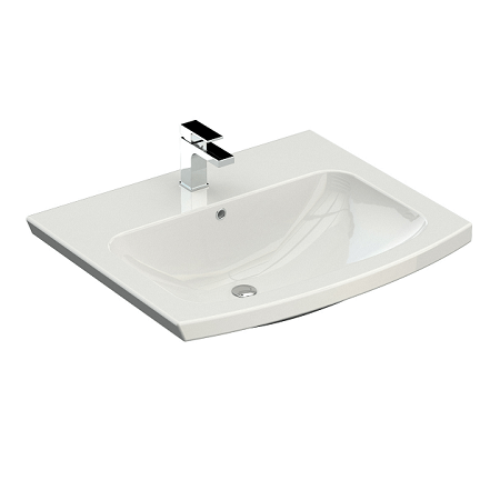 Saneux I-Line 57 x 48cm Semi Recessed One Tap Hole Washbasin-0