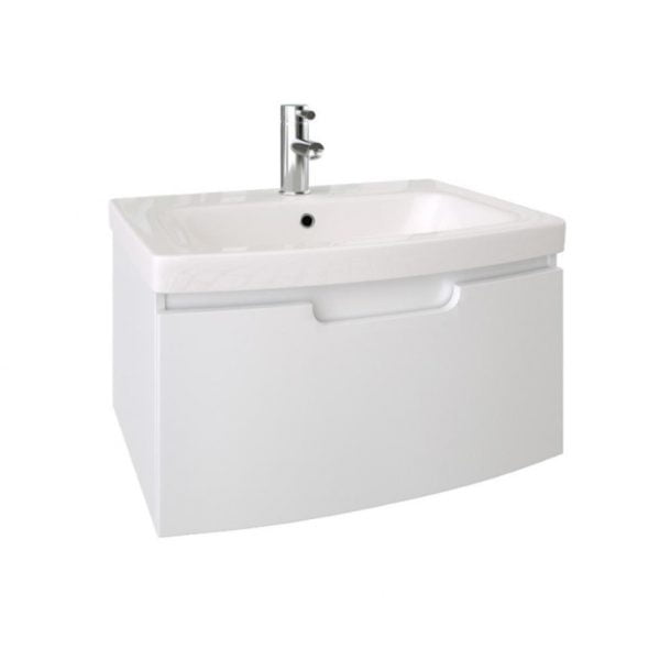 Saneux I-Line 60cm Wall Mounted 1 Drawer White Gloss Unit-0