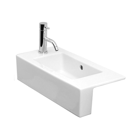 Saneux Uni 52x26cm Semi Recessed Left Tap Hole Washbasin-0