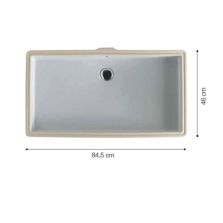 Saneux Uni 84 x 46cm Rectangle Under Counter Washbasin-0