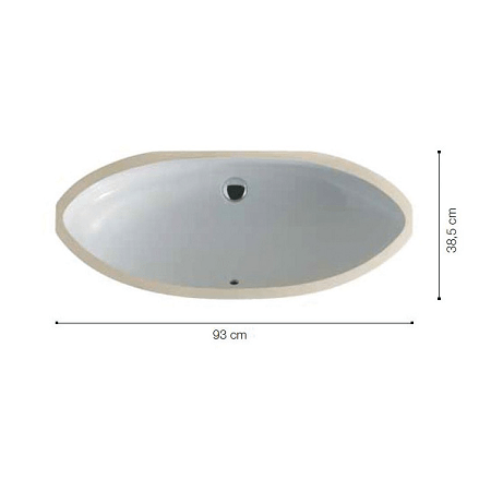 Saneux Uni 93 x 38cm Under Counter Oval Washbasin-0